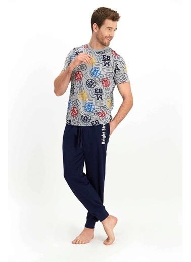 Roly Poly Rolypoly Bright Street Grimelanj Erkek Kısa Kol Pijama Takımı Gri